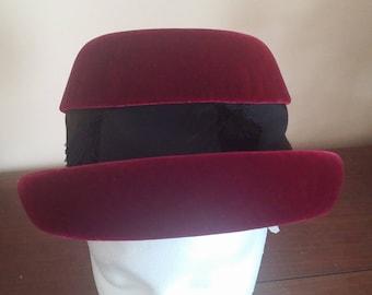 Vintage Irene of New York Burgandy Velour and Black Fabric Bowler Hat