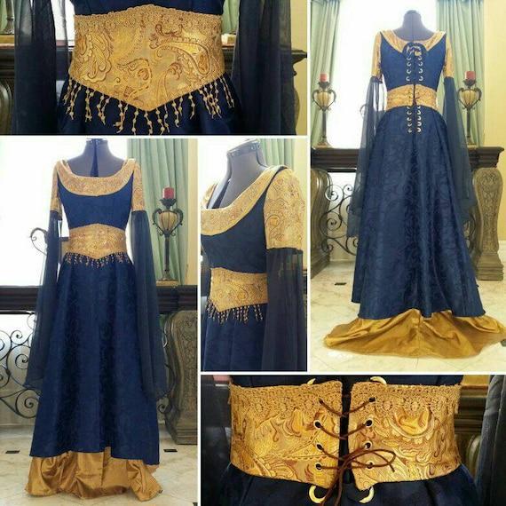 Brocade Hair Bows Clips Blue Gold Renaissance Princess Adult Costume Accessory