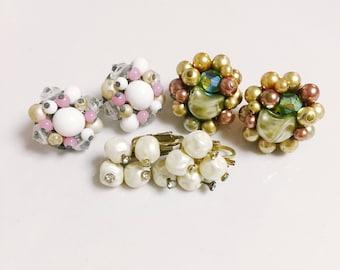 3 Pairs of Vintage Earrings, Pearl Earrings, Clip On Earrings, Beaded Earrings, 1950's 1960's Earrings, Retro Earrings, Gifts For Her