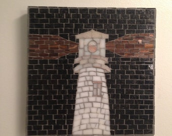 Black and White Lighthouse Mosaic