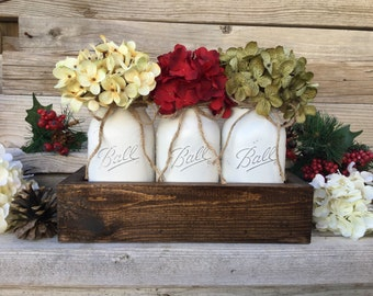 christmas decorchristmas table decorrustic christmas centerpiecefarmhouse christmaschristmas mason jarschristmas decorationsmason jars - Rustic Christmas Centerpieces