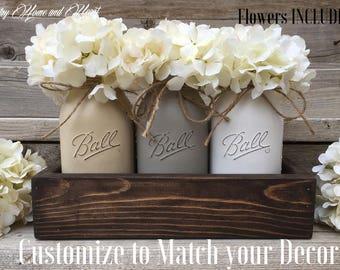 Table Decor, New Home Gift, Wedding Gift, Mason Jar Centerpiece, Planter  Box With 3 Quart Mason Jars, Flower Arrangement,Rustic Home Decor