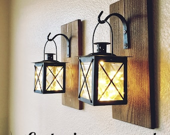 22d8e78ba4 Set of Hanging Lantern Sconces,Farmhouse Wall Decor, Lantern Sconces,  Black, Lanterns, Wood Sconce with Lantern, Country Decor, Small