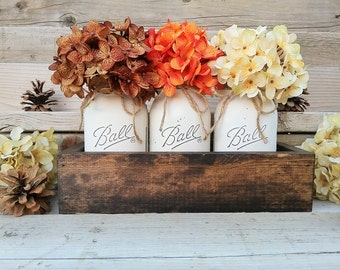 Fall Table CenterpieceFall DecorSeasonalThanksgiving DecorMantle DecorRustic Planter With JarsMason Jar Centerpiece BoxCountry