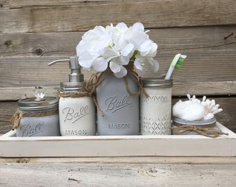 Gray Bathroom Decor, Gray Bathroom Set, Gray Mason Jar Bathroom Set,  Bathroom Set, Rustic Bathroom Decor, Gray Bathroom Decor, Farmhouse
