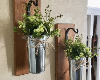 Home DecorHanging Planter With Greenery Or Flowers Rustic Wall Decor Sconces Metal Tin Country Farmhouse