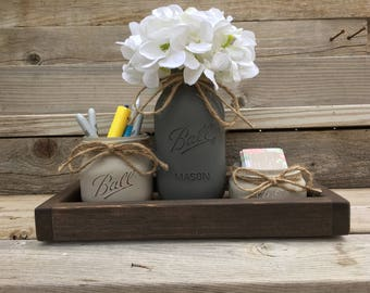 Items home office Essentials Office Decor New Job Gift Rustic Office Desk Accessories Office Organization Office Gift Mason Jar Organization Home Office Decor Etsy Home Office Etsy