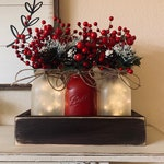 Christmas Decor, Christmas Dining Table Decor, Rustic Christmas Centerpiece,Farmhouse Christmas, Christmas Mason Jars, Decorations