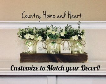 Dining Table Centerpiece Spring Wedding Decor Farmhouse Living Room Mason Jar Jars Rustic Home Mantle
