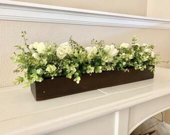 Rustic Planter Box Centerpiece With Greenery Farmhouse Table Floral Arrangements Mantle Decor