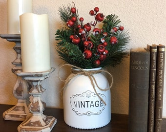 vintage style farmhouse christmas vase christmas decor rustic christmas vase christmas floral arrangement hostess gift - Christmas Decorations With Chicken Wire