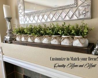 Mason Jar Decor, Mason Jar Centerpiece With Boxwood, Tray With Mason Jars,  Coffee Table Centerpiece, Farmhouse Table Decor, Rustic Decor