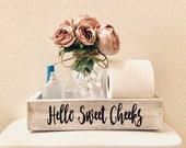 Hello Sweet Cheeks, Wood Toilet Box, Toilet Tray, Bathroom Toilet Tray, Bathroom Decor, Bathroom Humor, Nice Butt Tray, Sign, Toilet Tank