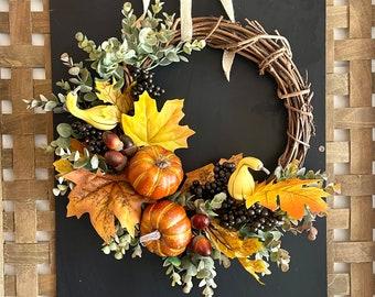 Wreath Fall Pumpkin, Fall Wreath Pumpkin and Gourd, Thanksgiving Wreath, Fall Front Porch Decor, Fall Decorations