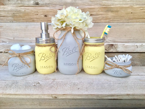 Yellow and Grey Bathroom Decor Yellow and Gray Mason Jar Bath | Etsy