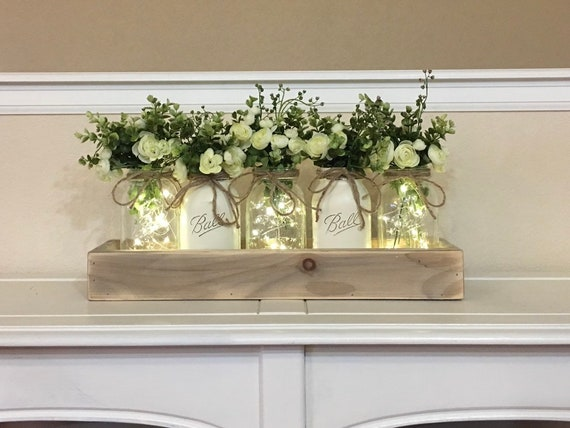 Dining Table Centerpiece Spring Wedding Decor Farmhouse Etsy