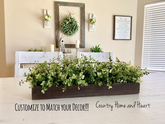 Rustic Planter Box Centerpiece With Greenery Farmhouse Table Etsy