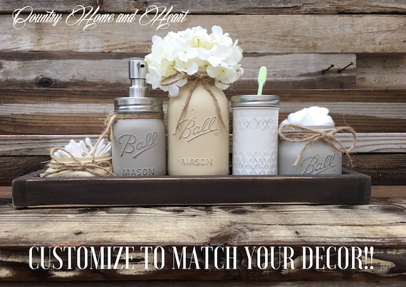 Country Bathroom Decor Mason Jar Bathroom Set Rustic Bathroom Etsy