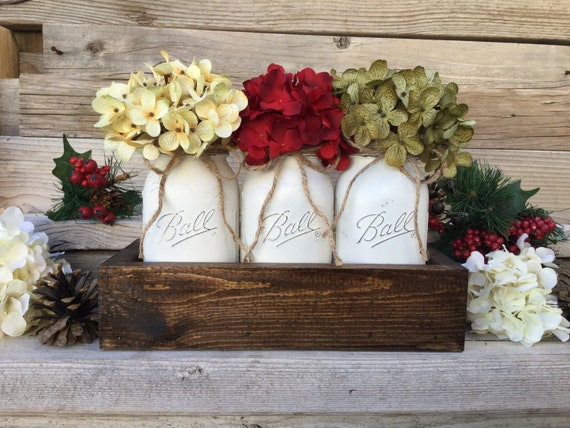 Christmas Decor Christmas Table Decor Rustic Christmas Centerpiece Farmhouse Christmas Christmas Mason Jars Christmas Decorations Mason Jars