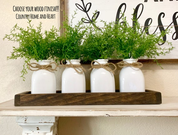 Modern Farmhouse Centerpiece, Rustic Table Decor, Coffee Table Decor,  Kitchen Island Centerpiece, Kitchen Table Decor, Wood Tray with Bottle