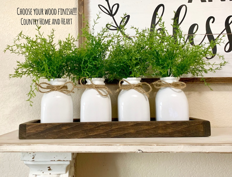 Modern Farmhouse Centerpiece Rustic Table Decor Coffee Table Decor Kitchen Island Centerpiece Kitchen Table Decor Wood Tray With Bottle