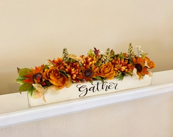Fall Floral Arrangement, Gather, Rustic Farmhouse Fall Decor, Fall Mantle Centerpieces, Dining Room Centerpiece, Thanksgiving Floral