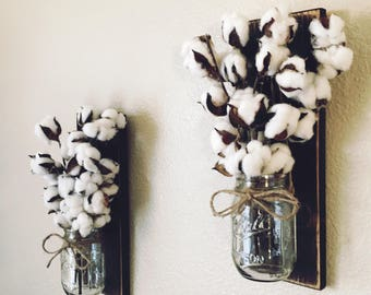 Mason Jar Sconce with Cotton Stems, Cotton Stem Decor, Rustic Farmhouse Wall Decor, Country Wall Decor, Rustic Decor, Home Decor, Farmhouse