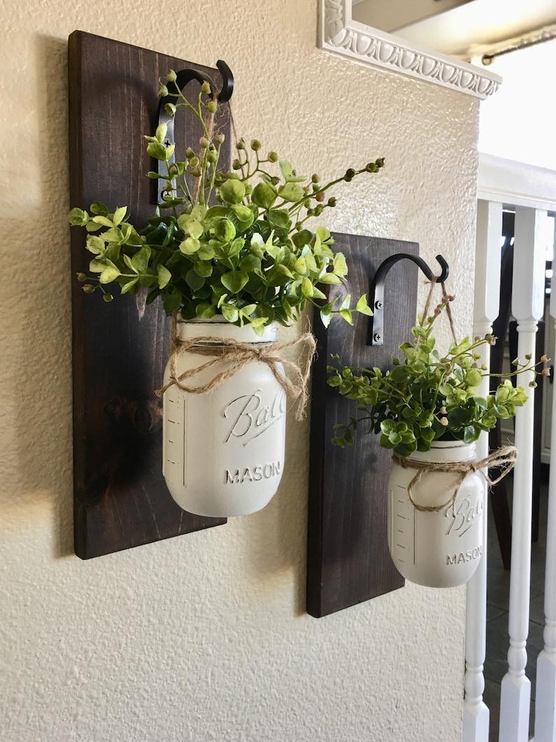 Mason Jar Hanging Planter Home Decor Wall Decor Rustic image 0