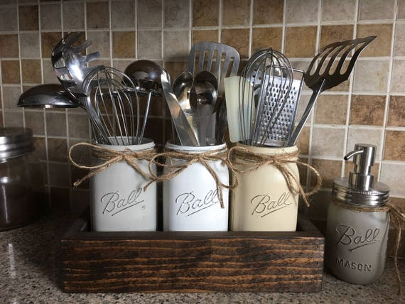 Items Similar To Rustic Utensils Holder Mason Jar