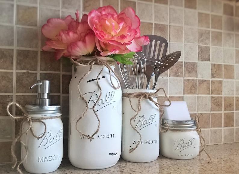 mason jar kitchen set-housewarming gift-mason jar decor-mason   etsy