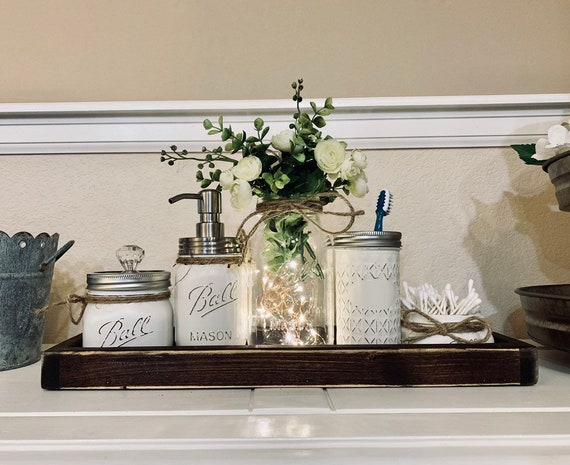 Bathroom Decor Bathroom Set Mason Jar Bathroom Set Etsy