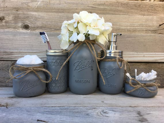 Mason Jar Bathroom Set Gray Rustic Bathroom Decor Country Etsy,How Much Does It Cost To Paint A House Interior