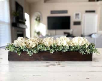 Long floral centerpiece, Centerpiece for long table, Hydrangea centerpiece, Rustic farmhouse table centerpiece, Kitchen island decor
