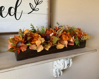 Fall Floral Arrangement, Rustic Farmhouse Fall Table Decor, Mantle Centerpieces, Dining Room Centerpiece, Thanksgiving Floral Arrangements