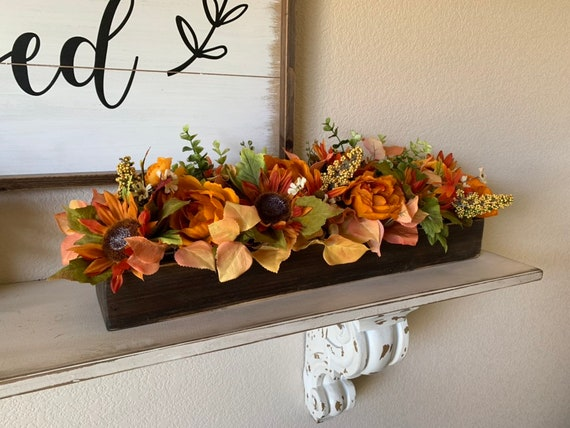 Fall Floral Arrangement Rustic Farmhouse Fall Table Decor Etsy