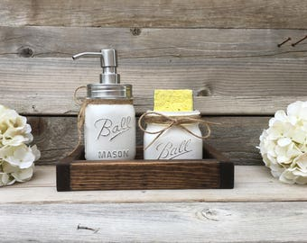 Kitchen Decor Farmhouse Mason Jar Kitchen Decor Mason Jar Spongeholder Mason Jar