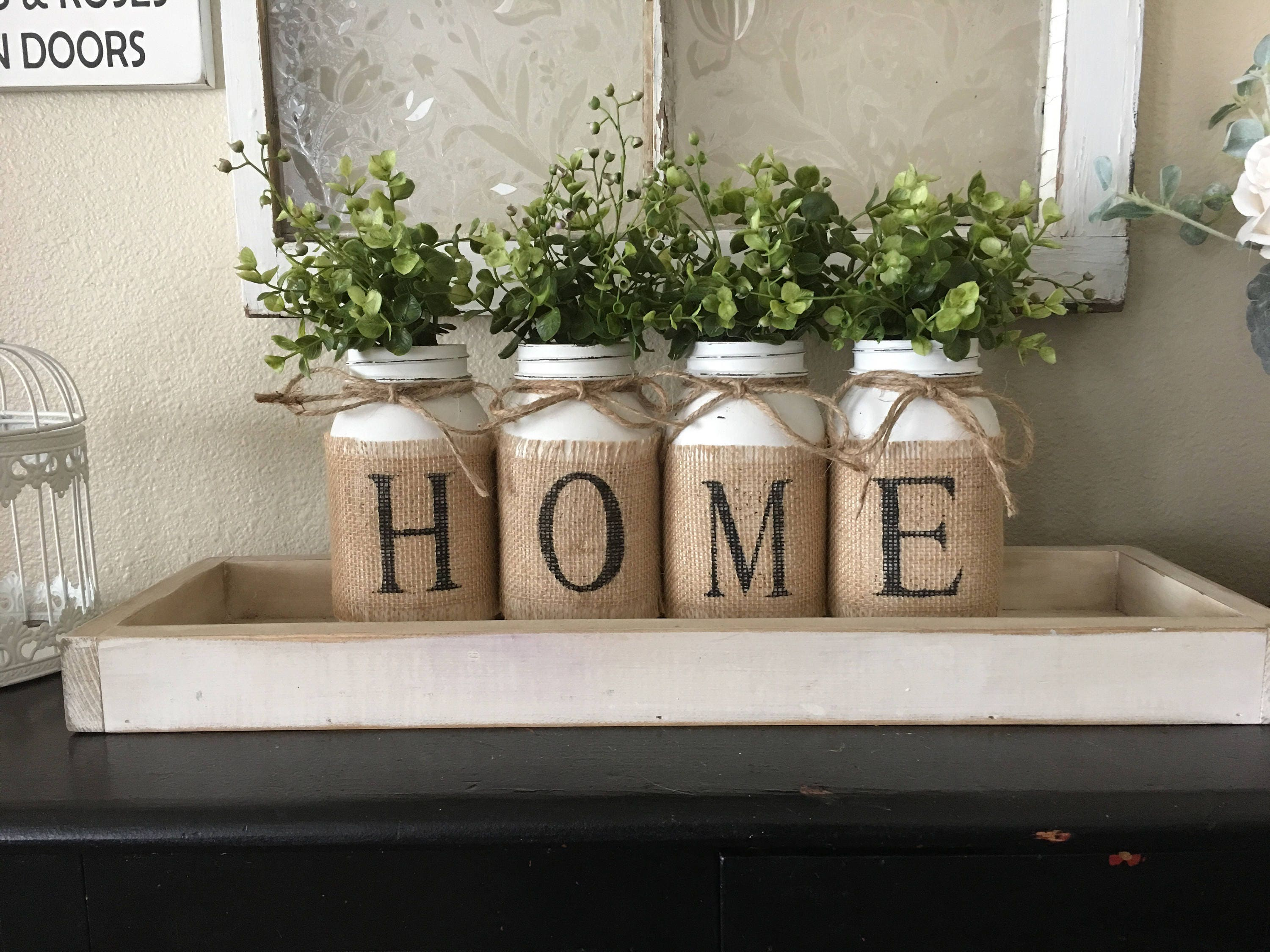 Country Home Decor Mason Jars With Burlap Painted