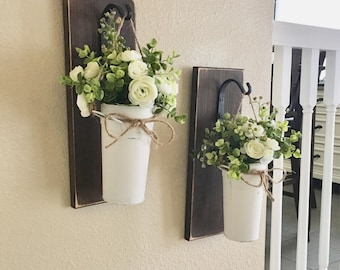 Farmhouse Living Room Decor, Hanging Planter with Greenery or Flowers, Rustic Wall Decor, Sconce with Flowers, Country Wall Decor, Farmhouse