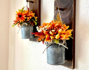 Fall wall sconce, fall wall decor, wall sconce with metal vase, farmhouse wall sconce for fall, wall decor, peg sconce, milk can