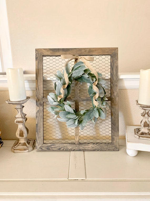 Window Frame With Lambs Ear Wreath Chicken Wire Frame Etsy