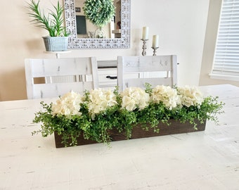 Kitchen Island Centerpiece, Dining Room Table Centerpiece, Mantle Decor, Hydrangea Floral Arrangement, Table Centerpiece, TV Console Decor