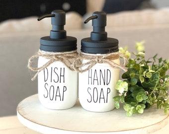 Farmhouse Kitchen Decor, Dunn Farmhouse Soap Dispenser, Dish Soap Holder, Painted Mason Jars, Dish Soap Dispenser, Hand Soap Dispenser,