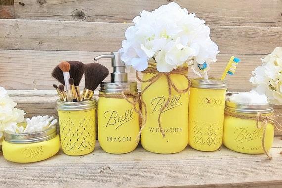 Yellow Mason Jar Bathroom Set Yellow Bathroom Decor Yellow Etsy