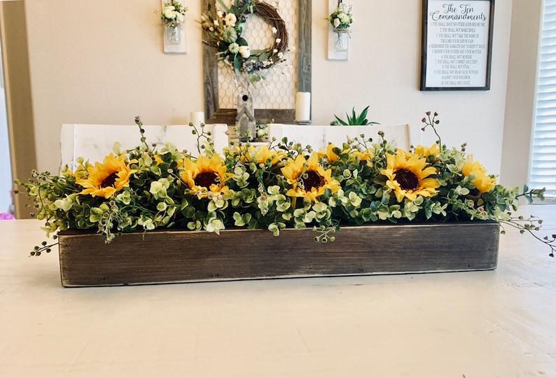 Sunflower Floral Arrangement Farmhouse Kitchen Island Centerpiece Fall Dining Room Table Rustic Floral Arrangement Mantle Decor