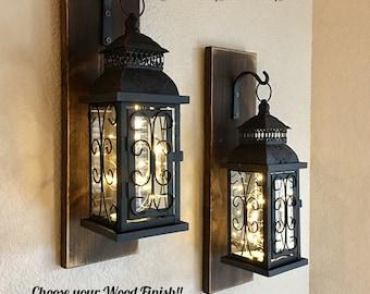 Set of Two Hanging Lantern Sconces, Farmhouse Wall Decor, Lantern Sconces, Black, Lanterns, Wood Sconce with Lantern, Country Decor