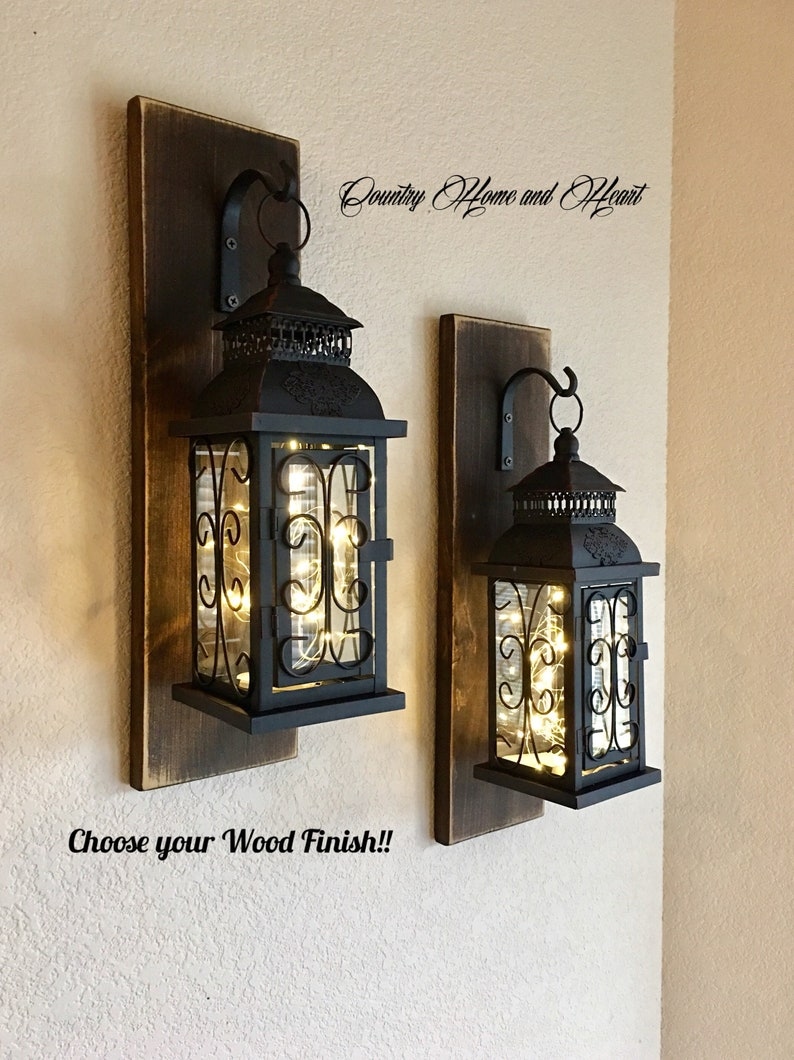 Set of two hanging lantern sconces farmhouse wall decor lantern sconces black lanterns wood sconce with lantern country decor