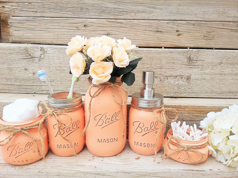 Mason Jar Bathroom Decor Peach, Peach And Grey Bathroom Accessories