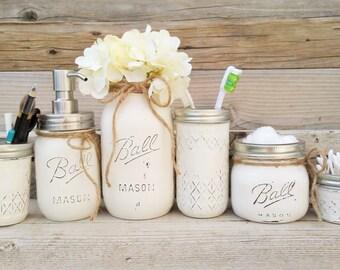 Mason Jar Bathroom Set, White, Mason Jar Bathroom Decor, Mason Jar Bathroom, Painted Mason Jar Bathroom Set, Bathroom Decor, Mason Jar Decor