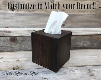 Wood Tissue Box Cover, Square Tissue Box Holder, Rustic Kleenex Box Cover, Tissue Cover, Bathtoom Decorations, Wood Tissue Cover, Home Decor