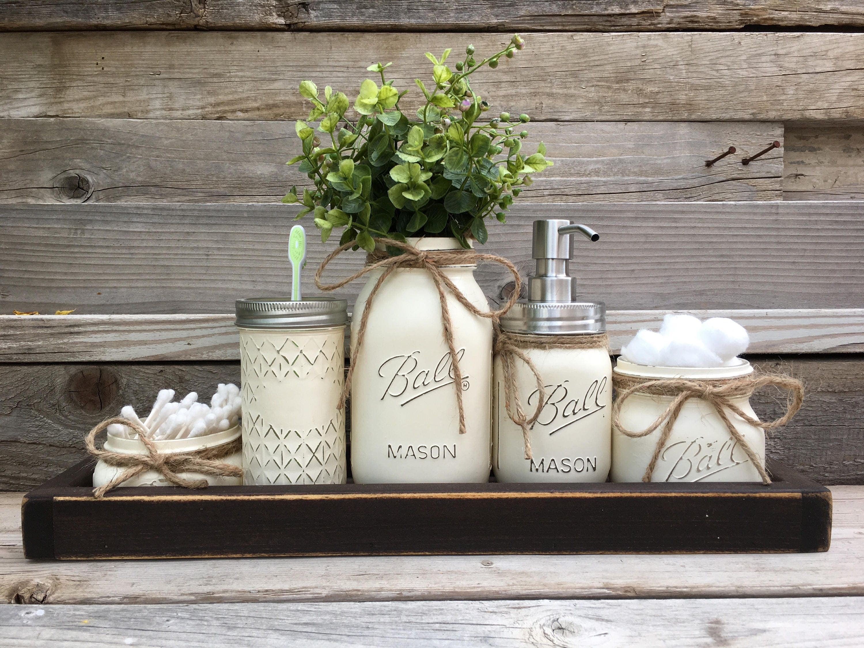 Rustic Bathroom Decor Farmhouse Bathroom Decor Mason Jar ...